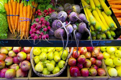 Display of root vegetables and fruits