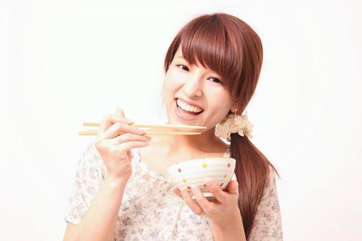 Female with bowl and chopsticks 2