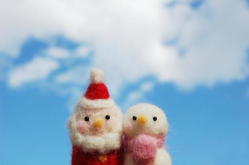 Santa and a snowman (sky and cloud)