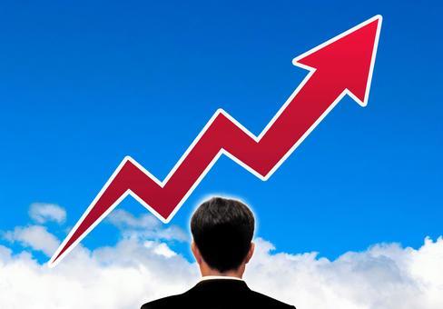 Businessman ideal rising arrow