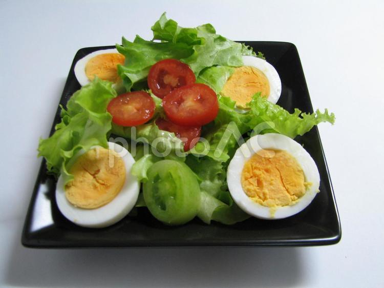サラダ レタス ゆで卵 プチトマトの写真