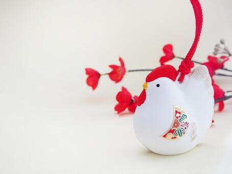 Rooster ornament plum blossom