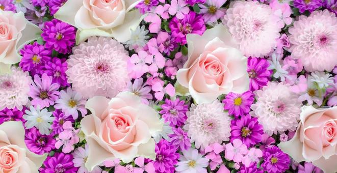 Roses, mum, dianthus. Pink flower arrangement