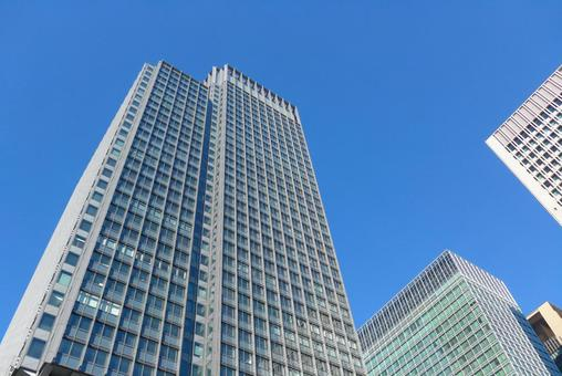 Office building and blue sky