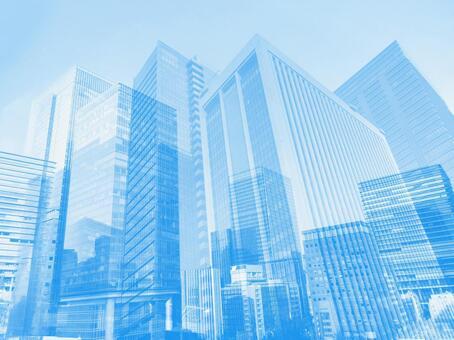 藍色商務街抽象背景素材