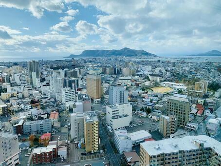 View of Hakodate city from Goryokaku Tower (Hakodate, Hokkaido)