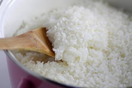 Rice cooked in a pot