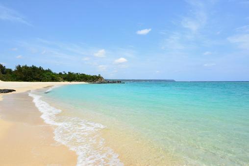 Okinawa's blue sea white waves private beach