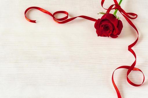 빨간 장미와 리본 프레임