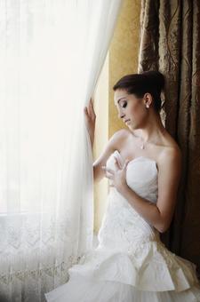 Foreign woman wearing a wedding dress 11
