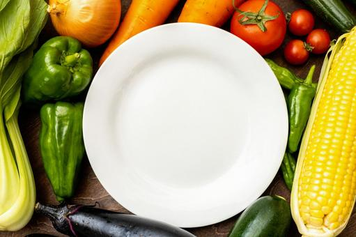 Vegetables and plates