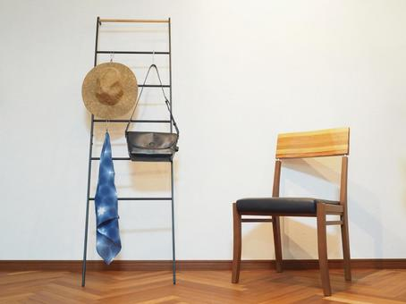 Wood chairs and shelves