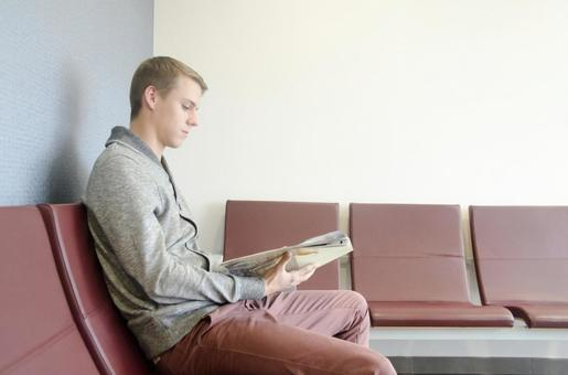 Patient sitting in the waiting room chair 5