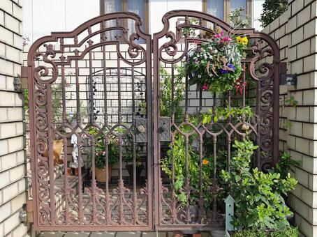 Entrance gate and flowers to decorate