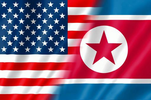 America and the North Korean flag