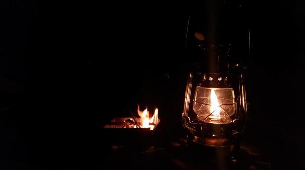 Bonfire and lantern