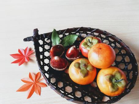 Fruitful autumn persimmon and chestnut (clay work)