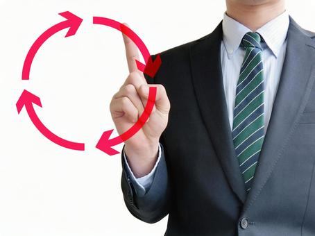 Men Pointing Business Cycle-White Background
