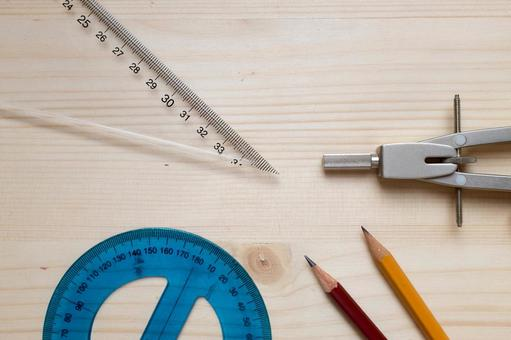 Pencil and protractor, compass and triangle ruler