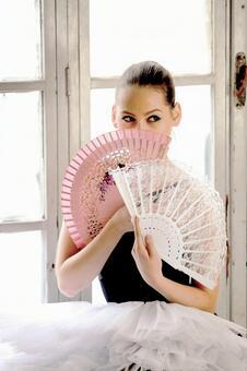 Female with folding fan 7