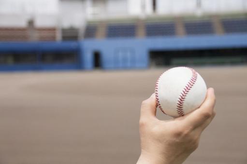 与棒球球的手