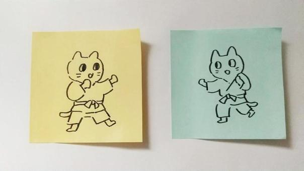 在便箋上繪製的空手道貓