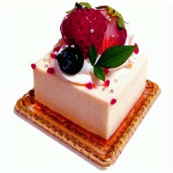 Square strawberry cake