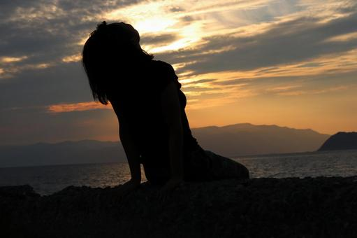 A girl who takes a deep breath