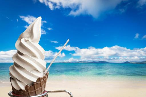 여름 풍경 바다 얼음 소프트 아이스크림