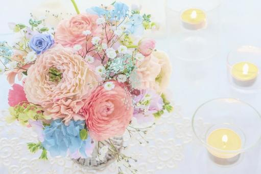 Spring bouquet and candle
