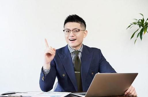 Asian businessman who comes up with ideas at work