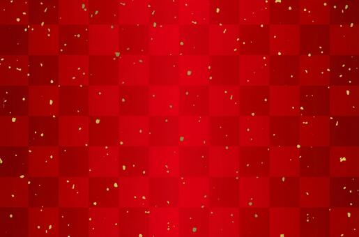 Checkered pattern red and golden powder