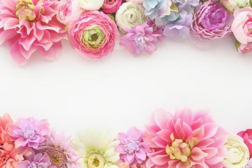 蓬鬆的花卉框架粉紅色1