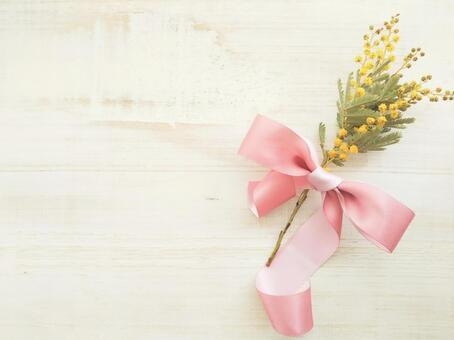 Mimosa flowers and ribbons