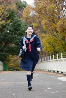 Running girls junior high school student 1