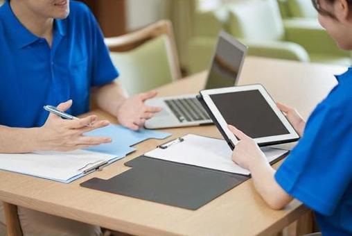 Caregiver discussing care plan