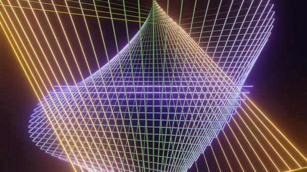 Three-dimensional geometric pattern with many rotating wire frames