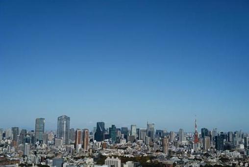 Clear blue sky in Minato-ku, Tokyo