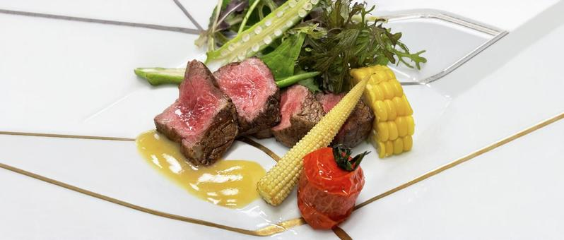 Steak landscape panorama advertising background material