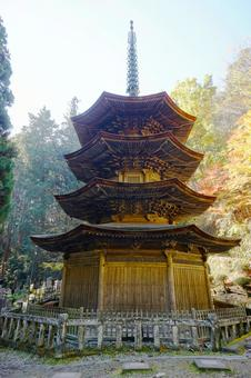 Bessho Onsen Yorakuji Temple of autumn leaves octagonal triple tower