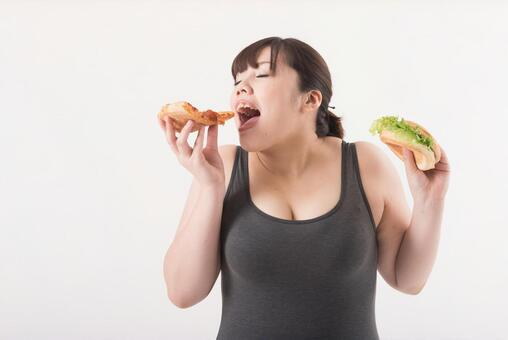 Female with hamburger and pizza 7