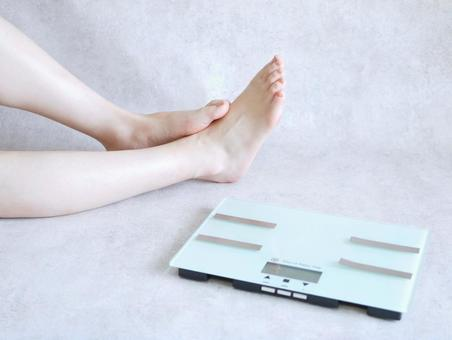 Scales and women's feet