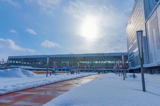 Asahikawa Station North Exit in winter Backlit / winter sunshine