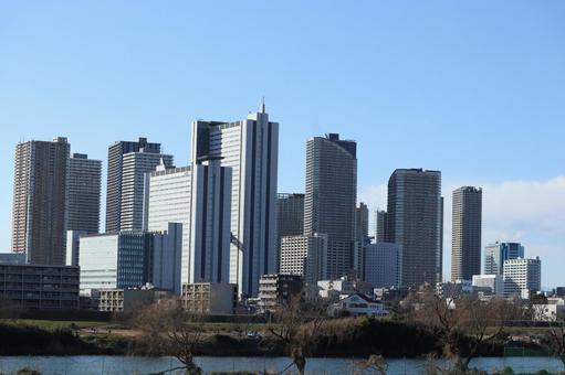 Musashi Kosugi cityscape and Tama River