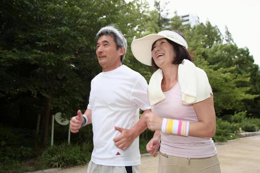 An elder couple jogging 5