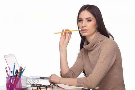 Female with writing instrument 5