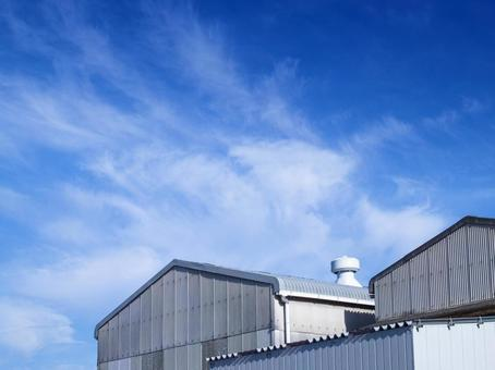 Blue sky and warehouse