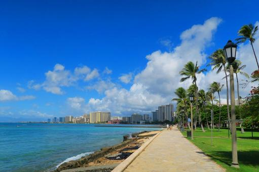Hawaii Landscape (33) A Road Along the Sea to Waikiki