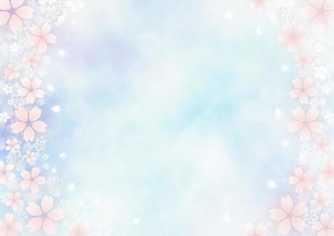 Lame cherry blossoms and fluffy cherry blossoms Watercolor-style frame material (blue-purple x light blue)