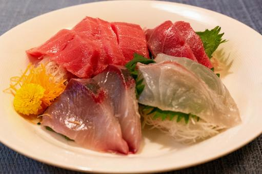 Assorted sashimi bought at the supermarket for 2 people